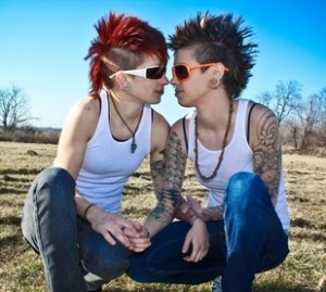 Two cute women with mohawks in relationship