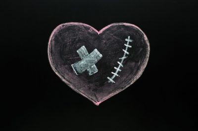 Heart with stitches and band-aid not ready